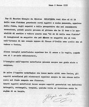 'Metafisica', 2 marzo 1976