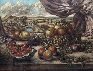 Giorgio De Chirico, 'Frutta con sfondo di paese' (1955-1956)