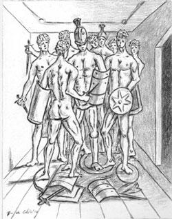 Giorgio De Chirico, 'Gladiatori nella stanza' (da 'Ebdòmeros', Roma: Bestetti, 1972)