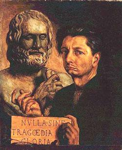 Giorgio De Chirico, 'Autoritratto con busto di Euripide' (1923)