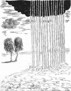 Giorgio De Chirico, 'Pioggia nel deserto' (da 'Ebdòmeros', Roma: Bestetti, 1972)
