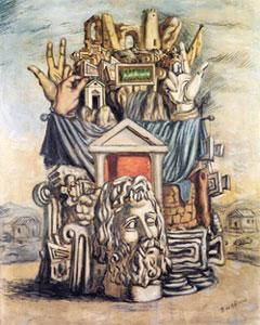 Giorgio De Chirico, 'Trofei con la testa di Giove' (1930)