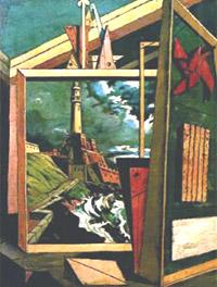 'Interno metafisico con faro' (1918)