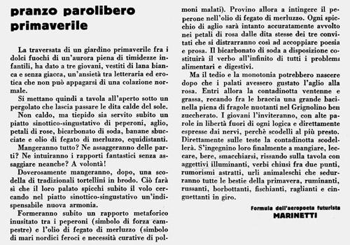 Pranzo parolibero futurista, F. T. Marinetti e Fillia (1932)